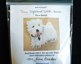 15/0 SEED BEADS ONLY for Westie Dog brooch beaded animal beading pattern