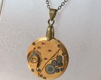 Gold Watch movement  Steampunk   Pendant ,  Steampunk Jewelry , Steampunk Jewelry , Clockwork Watch Movement Pendant