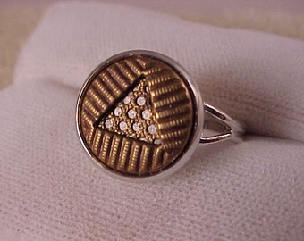 Geometric Clothing Button Adjustable Ring