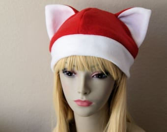 Fleece Cat Hat / RED + WHITE Beanie Style Cap Cute Anime Neko Santa Claws Cosplay Cat Ears Kitty Ears Christmas Xmas Kawaii Japanese Fashion