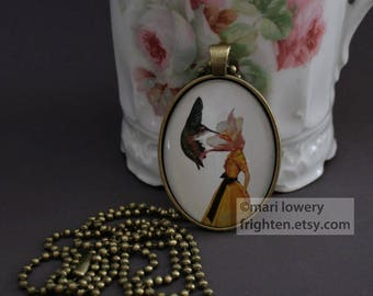 Surreal Art Collage Necklace with Long Chain, Hummingbird Jewelry with Box, Flower and Bird Pendant, frighten