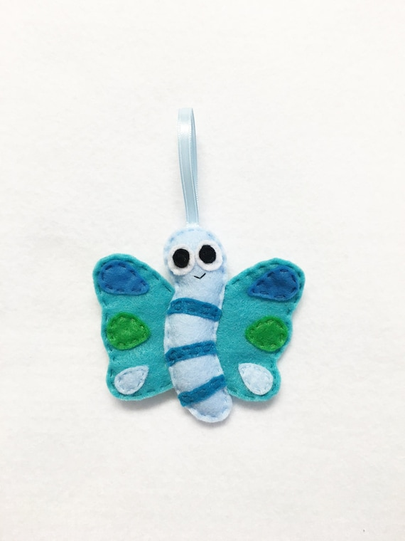 Butterfly Ornament, Jacinda the Butterfly, Christmas Ornament, Felt insect, Gifts under 20, Teal, Peacock Colors