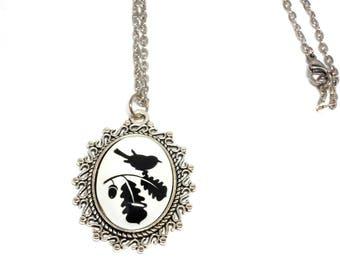 Black Bird on leaf silver necklace