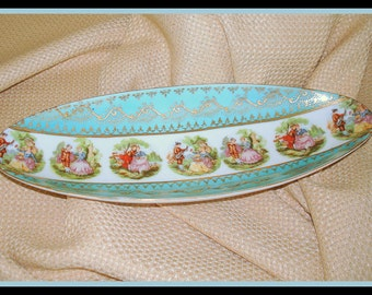 "Oval Decorative Bowl Dish Old World Design Collectible Vintage Home Decor Seven ""Courtship Scenes""  Serving Piece Aqua Gold"