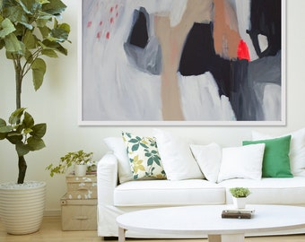 """large black and white print of painting, Giclée print, red, orange, beige, modern art, expressionist art, """"Dabble"""""""