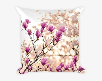Pink Flower Photograph Pillow Case