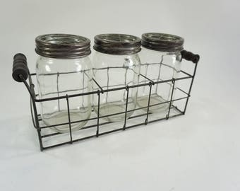 Flower Vases, Metal Basket, 3 Glass Jars w/ Flower Lids, Country Cottage Decor, Window Sill Vases, 3 Bottle Basket Holder,  Free Ship