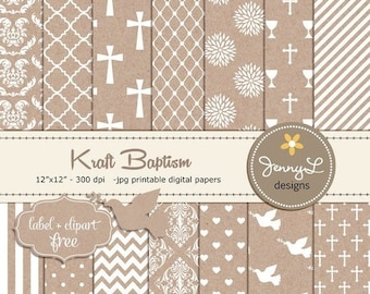 50% OFF Kraft Baptism Digital Paper, First Communion, Dedication, Christening Cardboard Holy Week, Dove Clipart, Cross, Chalice, Scrapbookin