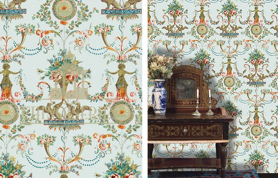 Dollhouse Miniature Wallpaper, French Arabesque, Scale One Inch
