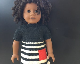 OUtfit for 18 inch doll; doll clothes; doll dress; handmade doll clothes; AG doll clothes; 18 inch doll clothes; knitted doll clothes; dress