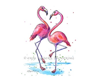 Flamingo Love 8x10 Watercolor Art Print