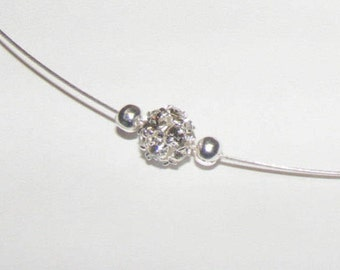 """Necklace """"Chips"""" Crystal and silver - Aucrea wedding Collection - discreet, light."""