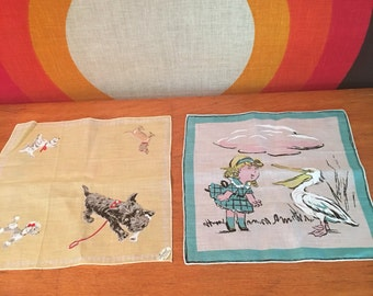 Vintage Pair of Handkercheifs, Burmel Original Scottie Dog Hankie and Girl with Pelican Handkerchief, Vintage Dog with Rhinestone Eyes