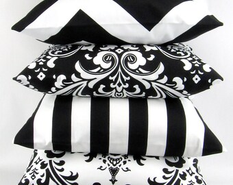 Black & White Pillow -18x18 inch- Bold modern geometric patterns to mix and match, Decorative Throw Pillow Cushion, Premier Prints FREESHIP