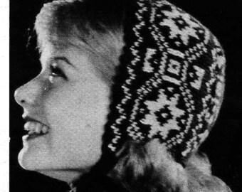 PATTERN Vintage Norwegian Fair Isle Color work hat to knit. Cap, Bonnet, Hat, Ear Warmer, PDF Pattern to Knit for