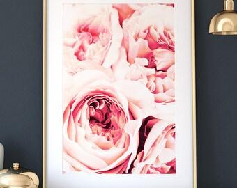 Peony print, PRINTABLE art, INSTANT DOWNLOAD, Floral print, Peonies print, Peony wall art, Botanical print, Flower print, Pink wall art