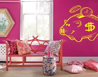 Wall Decal Sticker Bedroom piggy bank money save coins kids 112b