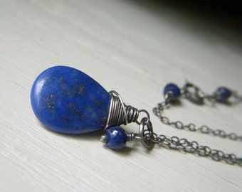Lapis Necklace, Oxidized Sterling Silver, Wirewrapped Genuine Gemstone Briolette, Royal Blue Necklace