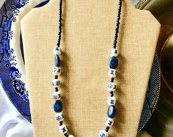 Asian Bead Necklace Blue and White Porcelain and Sodalite Beads by RICHARME