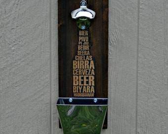 Wall Mounted Bottle Opener with Catcher for the Man Cave, Patio, Beer, Garage, Dad, Husband, Groomsman, Handmade by Jackglass.etsy.com