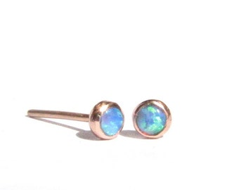 Opal 14k SOLID Rose Gold Studs - Tiny Opal Post Earrings - 3 mm - Rose Gold Opal Earrings - Blue Opal Studs - Opal Rose Gold- Made To Order.