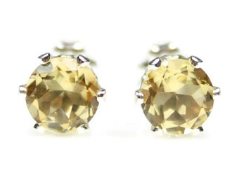 Yellow Citrine Earrings Sterling Silver Studs November Birthstone Jewelry Post Real 4MM or 6MM Round Gemstones Present for Mom Gift for Her