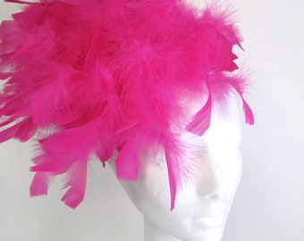 Feather Fascinator -Hot Pink Feather Headpiece -Pink Hat- Derby Fascinator - Fuchsia Headpiece- Derby Days- Tea Party Fascinator- Wedding