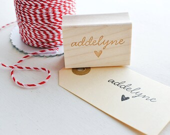 Name Rubber Stamp with Heart - Customized Stamp - Personalized Stamp - Kawaii Stamp