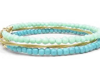 Bangle Bracelets / Set of 3 Bracelets / Mint, Turquoise & Gold Bracelets / Eco-Friendly Jewelry / Guitar String Bracelets / Bridesmaid Gift