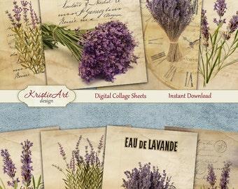 75% OFF SALE Digital Collage Sheet - Lavender, Vintage Cards C143, Printable Download, Digital Collage, Altered Art, Lavender Atc Aceo size