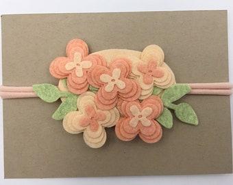 Coral and Peach Flower Headband