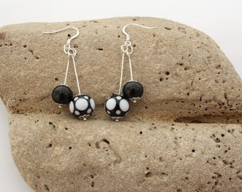 Black and white Lampwork earrings