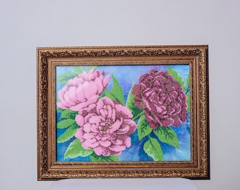 "Picture embroidered beaded flowers peonies "". Handmade."
