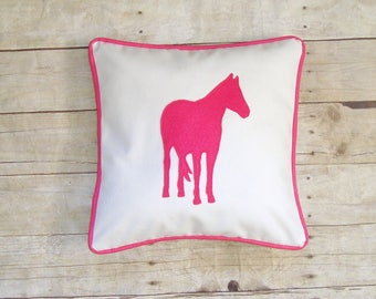 Horse Pillow cover, Equestrian pillow, horse lover gift, horse applique, decorative throw pillow