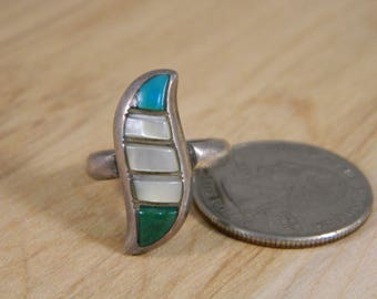 Pearl Ring, Vintage Sterling Silver, Mother of Pearl Green and Blue Turquoise Ring, Southwestern Vintage MOP Ring Sz 6, Vintage Silver Ring