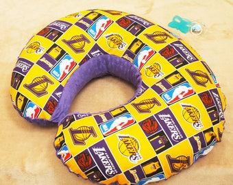 Lakers Baby nursing pillow cover, Boppy slipcover, Minky Boppy Cover, basketball baby shower gift, LA Lakers fan gift