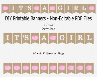 It's A Girl Banner - Burlap & Baby Pink - Fall - Girl Little Pumpkin - Baby Shower - PRINTABLE - INSTANT DOWNLOAD
