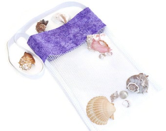 Sea Shell Collecting Bag, Mesh Beachcomber Bag, Beach or Pool Toy Bag, Purple Butterfly Shoulder Tote Bag, Gift For Girls