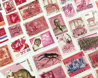 Vintage Worldwide Cancelled Red & Pink Postage Stamps / lot of 50 Used off-paper canceled stamps - crafting stamps paper ephemera