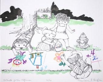 Künstler für den Nachmittag durch Barbara Fernekes Hughes Serigrafie Hand Farbe
