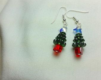 Christmas Tree, Crystal Star Dangle Earrings, Christmas Earrings, Christmas Jewelry