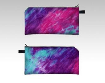 Tie Dye Pencil Case-Pink, Purple, Teal-Zipper Pouch-Pencil Pouch-Cosmetics Pouch-Cosmetics Case
