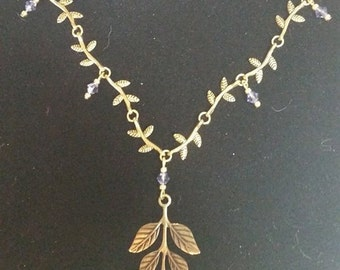 Necklace Brass Woodland Leaves #301 One Of A Kind