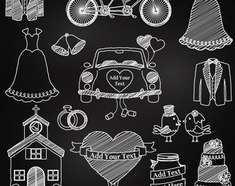 Chalkboard Wedding Clipart, Chalkboard Wedding Clip Art, Bridal Clipart, Bridal Clip Art, Chalkboard Clipart - Commercial and Personal Use