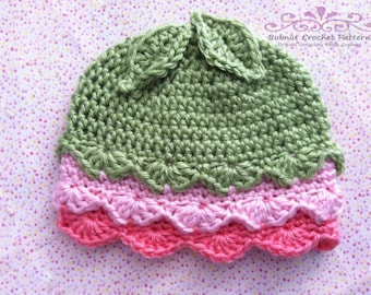 Baby Hat Crochet Pattern No.125 Fifi Flower Bud with Leaves English