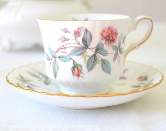 Vintage English Bone China Royal Stafford Tea Cup & Saucer Duo Tea Party Gifts for Her Replacement China
