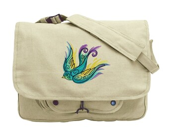 Painted Swallow Embroidered Canvas Messenger Bag