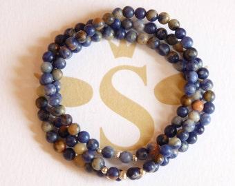 Aditi bracelet 3 rows orange sodalite and Sterling Silver 925