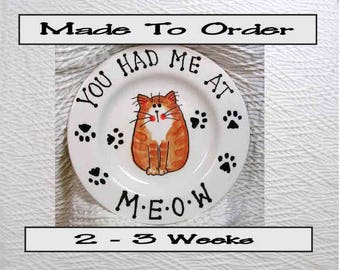 Special Order For CT Fluffy Calico 6 Inch Meow Cat Plate Handmade In Clay by Grace M Smith Pet Food Dish