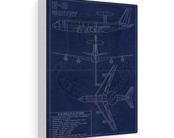 E-3 Sentry Vintage Style Blueprint Canvas Gallery Wraps